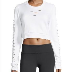 Alo Ripped Warrior Cropped Sweatshirt Hole Top